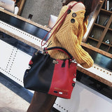 Women Panelled Messenger Bag,  Leather Crossbody Bag, Lock Shoulder Bags