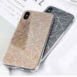 Glitter Bling Powder Phone Case For iPhone X Geometric Lines Hard PC Back Cover Cases For iPhone
