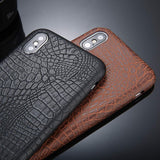 Crocodile Texture Phone Case, PU Leather Back Cover For iPhone