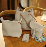 4pcs/Set Tassel Leather Clutch Shoulder Bag Women