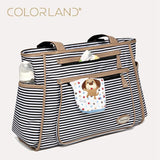 Colorland Black White Stripes Baby Diaper Bag. Organizer Fashion Maternity Bag, Travel Messenger