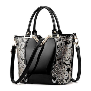 Women Sequin Embroidery Bag, Patent Leather Handbag, Shoulder bag, Messenger Bag