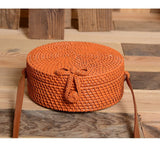 Rattan Round Straw Shoulder Bag Women Summer Hollow Handmade
