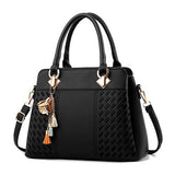 Women Handbags Tassel PU Leather Totes Bag Top-handle Embroidery Crossbody Bag Shoulder Bag Lady Simple Style Hand Bags