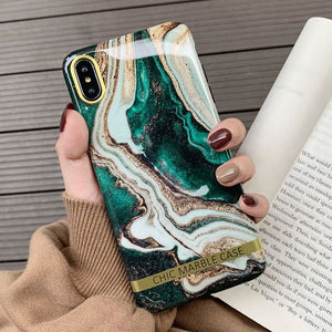 Artistic Agate Marble Gold Bar, Glossy Soft Silicon Phone Case For IPhone
