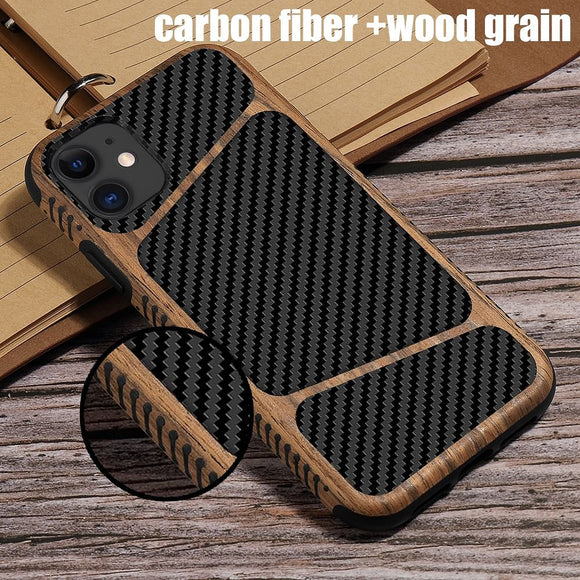 LAPOPNUT Case for IPhone Carbon Fiber Wood Grain Hybrid Slim Back Cover