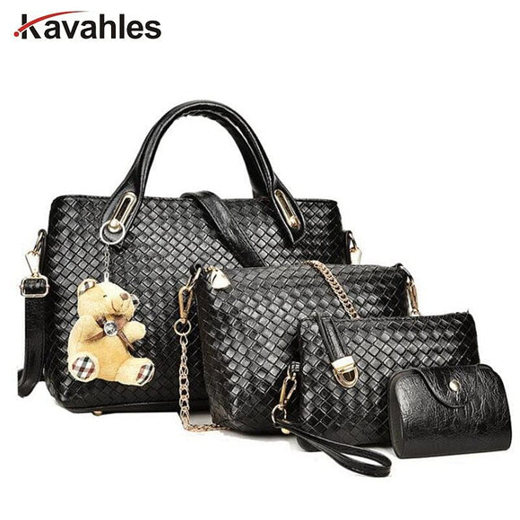 4pcs Leather Set Weave Soft Bag