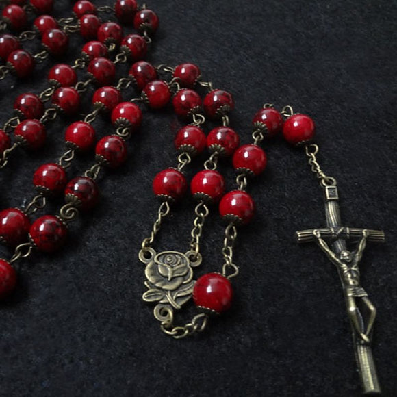 European Fashion Vintage Catholic Religious Cross Rosary Glass Beads Long Pendant Necklace
