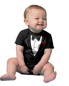 "Ann Arbor T-shirt Co. Unisex Baby ""Tuxedo Baby"" Funny Infant Humor One Piece"