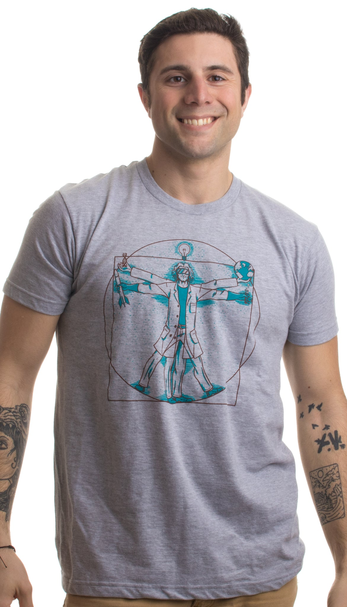 352da574e5d7 ... Vitruvian Scientist | Funny Cool Science Nerd Nerdy Geek Geeky Men  Women T-shirt ...