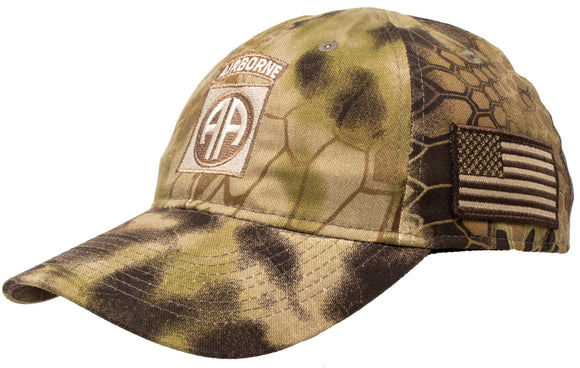 82nd Airborne Division | Camo Army Veteran Military Hat Cap Tactical Flag Tan