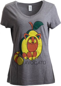 Avogato | Funny Cute Avocado Cat Joke Arigato Graphic V-neck T-shirt for Women