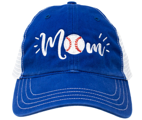 Baseball Mom Hat | Cute Team Color Fan Cap for Women Black Red Blue Green Purple