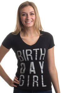 BIRTHDAY GIRL | Black or Pink Cute Sexy B-Day Bar Crawl Party V-neck T-shirt