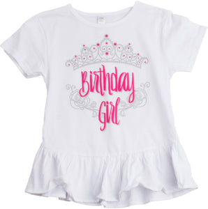 Birthday Girl Princess | Princess Party Tiara B-Day Top Girly Ruffle T-shirt
