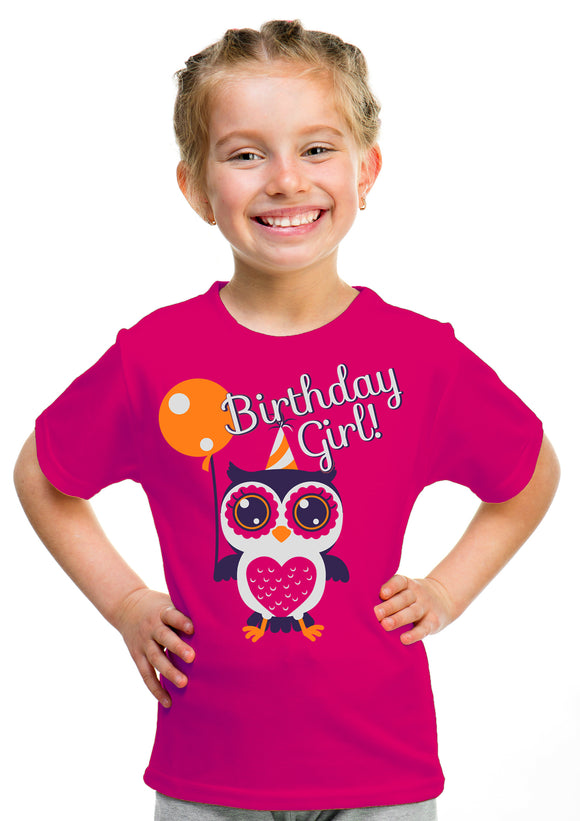 Birthday Girl Owl | Cute Owl Girly B-day Party Top, Girl's Youth T-shirt