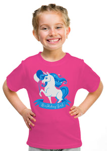 Birthday Girl Unicorn | Neon Pink Unicorn B-day Party Top Girls' Youth T-shirt