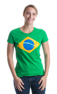 BRAZIL NATIONAL FLAG Ladies' T-shirt / Bandeira do Brasil, Brazilian Tee