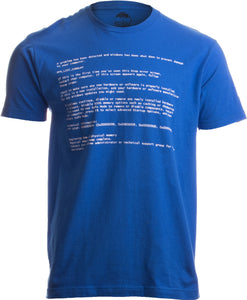 Blue Screen of Death | Geeky Windows Error, Funny Computer Nerd Unisex T-shirt