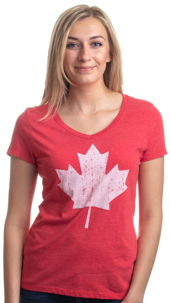 Canada Pride | Vintage Style, Retro Canadian Maple Leaf Women's V-neck T-shirt