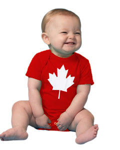 Baby Maple Leaf Jumpsuit | Cute Canadian Infant, Canada Pride One Piece Romper