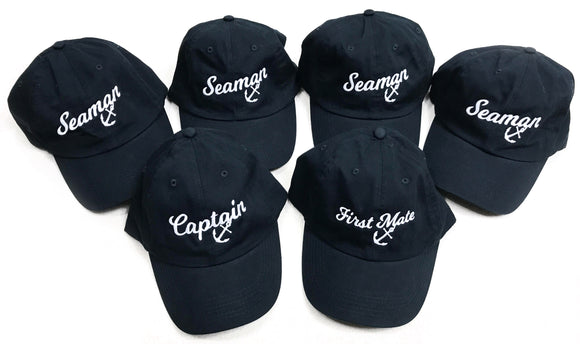 Captain, First Mate, & 4 Seamen | Matching Boat Crew Boating Baseball Caps