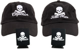 Pirate Captain & First Mate | Matching Boating Baseball Caps and Beer Holders