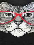 Red Linda Glasses Cat | Sassy Funny Kitty Belcher Cute V-neck T-shirt for Women