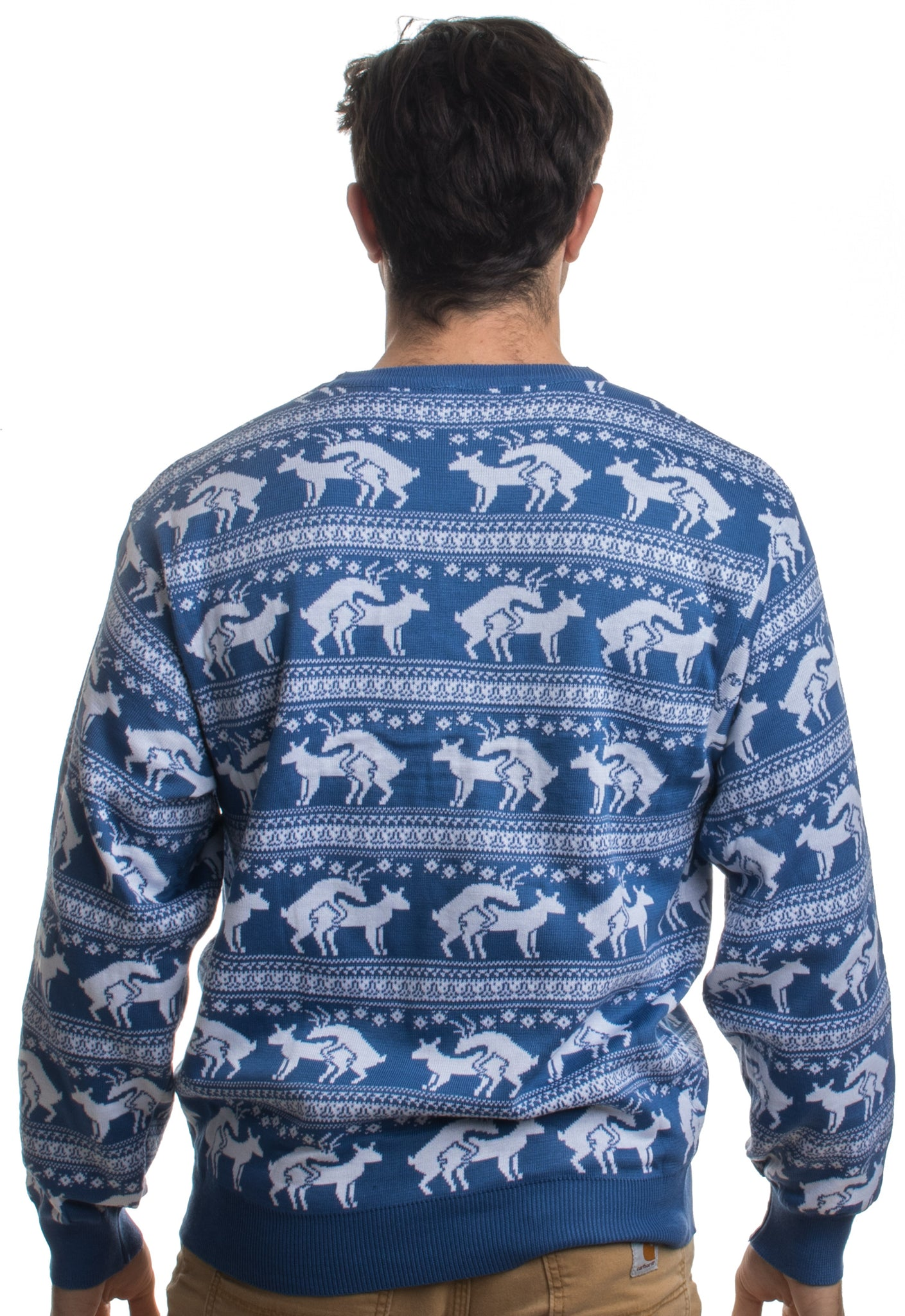a70c1431263 ... Blue Reindeer Humping Ugly Christmas Sweater w  Holiday Insertion    Christmas Dongs ...