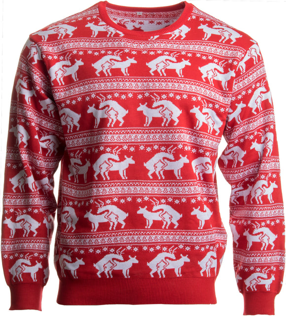 Red Reindeer Humping Ugly Christmas Sweater w/ Holiday Insertion & Christmas Dongs