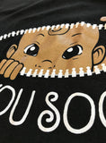 See You Soon! | Cute Funny Maternity Pregnancy African American Baby Scoop Neck Top Black T-shirt for Pregnant Women