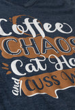 Coffee, Chaos, Cat Hair, Cusswords | Funny Animal Lover V-neck T-shirt for Women