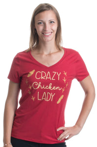 Crazy Chicken Lady | Cute Backyard Chicken Farmer Humor Ladies' V-neck T-shirt