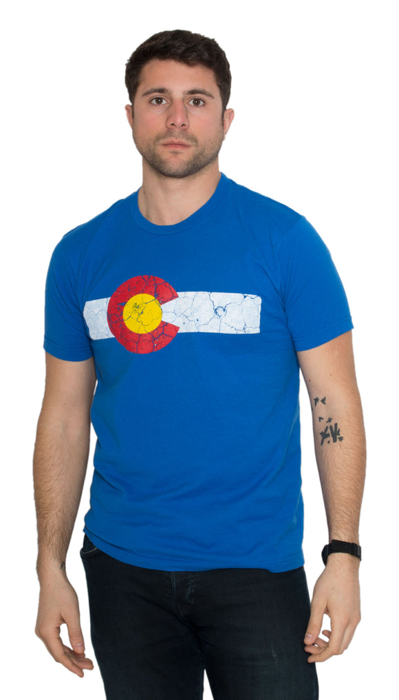 COLORADO STATE FLAG DISTRESSED Unisex T-shirt / Vintage Look CO Denver Tee