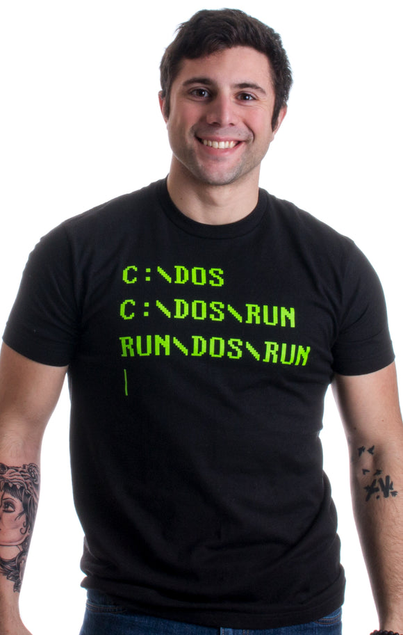 RUN DOS RUN | Funny Nerd, IT Geek, Computer Engineer Humor Unisex T-shirt