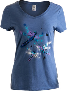 Dragonflies | Dragonfly Nature Art Insect Bug Cute Gift V-neck T-shirt for Women