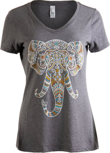 Elephant Aesthetic | Ornate Stylized Line Art Yoga V-neck T-shirt for Women
