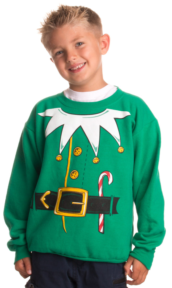 Kid's Santa's Elf Costume | Novelty Christmas Sweater, Holiday Child Sweatshirt