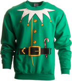 Santa's Elf Costume | Novelty Christmas Sweater, Holiday Crewneck Sweatshirt