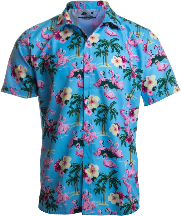 Naughty Flamingo | Funny Drinking Sex Party Hawaiian Button Down Polo Shirt Men