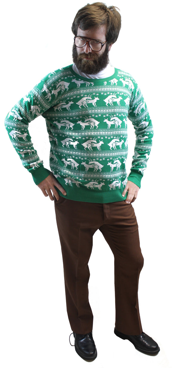 Green Reindeer Humping Ugly Christmas Sweater w/ Holiday Insertion & Christmas Dongs