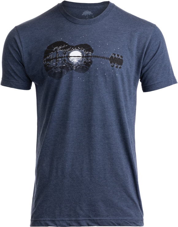 Acoustic Guitar Moonrise | Guitarist Musician Music Player for Man Woman T-shirt