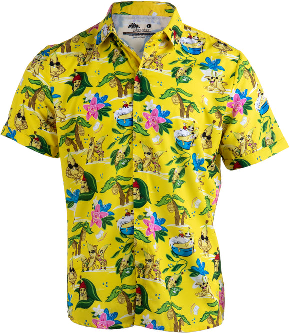 Bananas & Blow | Funny Drug Hawaiian Button Down Polo Golf Party Shirt for Men