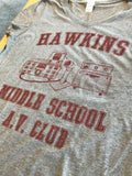 Hawkins Middle School A.V. Club | Vintage 80s AV Hawkin Women V-neck T-shirt Top
