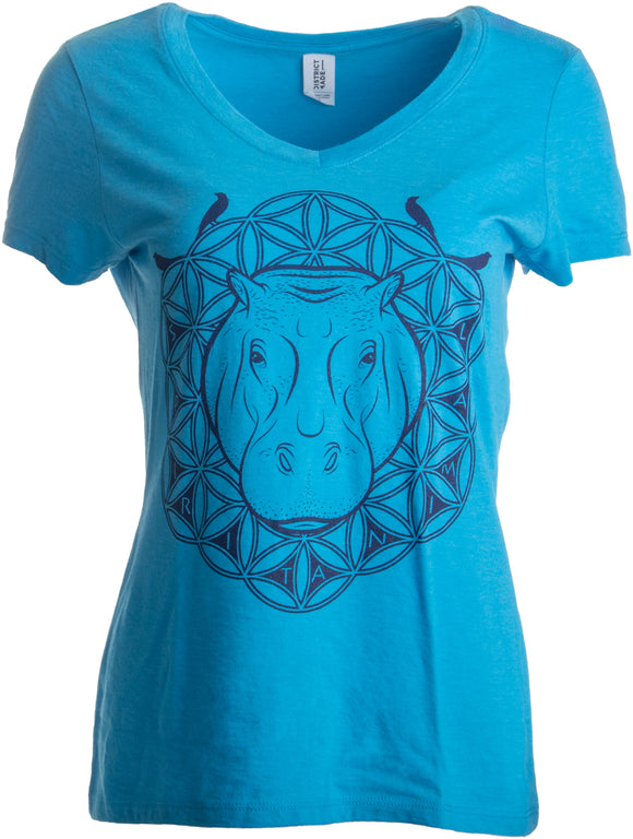 Hippo Spirit Print | Funny Animal, Cute Nature Line Art Women's V-neck T-shirt