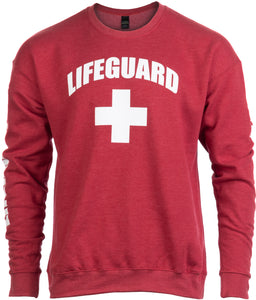 LIFEGUARD | Red Unisex Uniform Fleece Sweatshirt Crewneck Sweater for Men Women