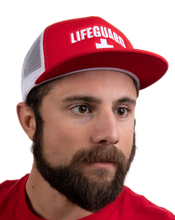Lifeguard Snapback Hat | Flat Brim Guard Red Baseball Cap Men Women Cool Uniform