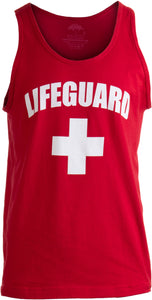 LIFEGUARD | Red Adult Lifeguarding Uniform Costume Unisex Tank Top Men Women