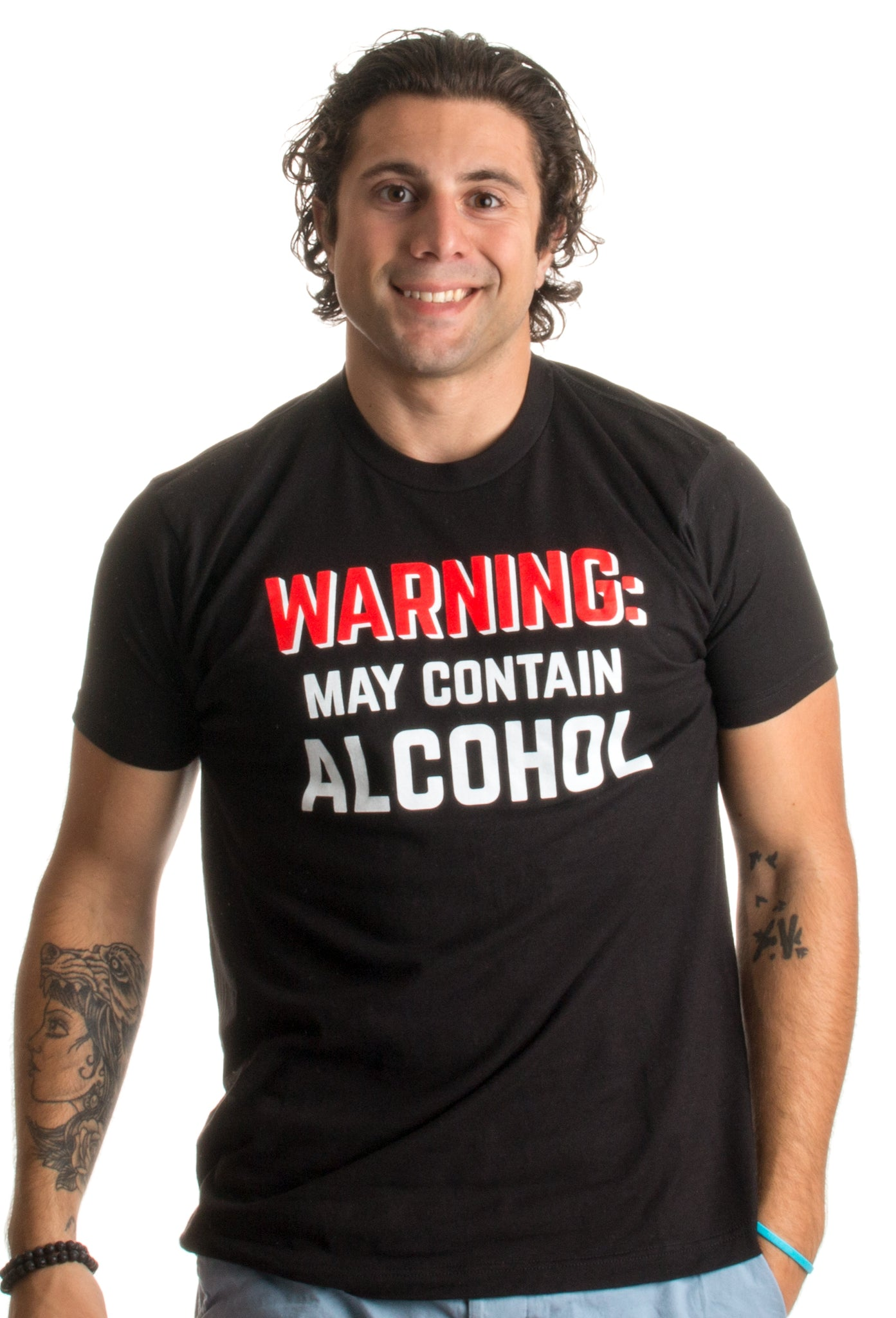 6e5380b6 WARNING: May Contain Alcohol   Funny Beer Concert Party Bar Humor Unisex T- shirt ...