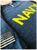 Navy Chest Print & U.S. Military Sleeve Flag | Naval Veteran Sailor Style Shirt
